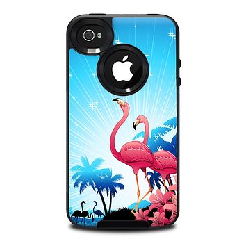 The Vibrant Flamingo Scenery Skin for the iPhone 4-4s OtterBox Commuter Case