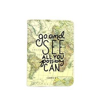 Go And See You All Possibly Can World Map Leather Passport Cover - Vintage Passport Wallet - Travel Accessory Gift - Travel Wallet for Women and Men _Mishkaa