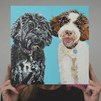 Custom pet portrait of 2 dogs  Custom dog painting 12x12 painting  2 dogs on canvas dog portraits Custom Dog Portrait 2 Pets