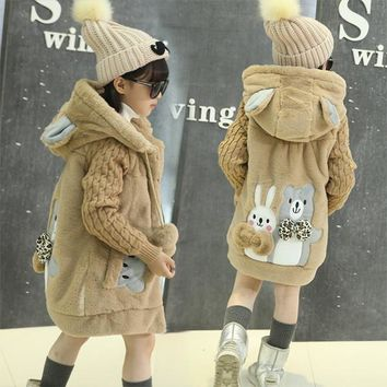 Baby Girls Warm Coat Cartoon Style Girls Fashion Outerwear Baby Girl Clothes/Hooded Jacket 2017 Autumn Winter Cotton Coat YY2377