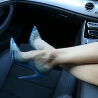Extra Perspex Court Heels in Blue