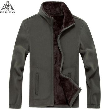 PEILOW Brand Clothing Jacket Men Spring autumn Jacket Casual Slim Fit Outerwear Fleece Men's Jackets and Coats Jaqueta Masculina