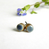 Gold and Denim Blue Mini Post Earrings Circle Porcelain Stud Earrings Hypoallergenic Round Ceramic Tiny Pottery Jewelry