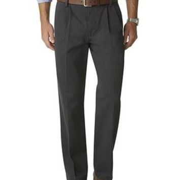 Dockers Signature Khaki Pants, Classic Fit Pleated - Grey,Black - Men's