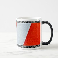 Red warning tape across granite stone magic mug