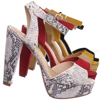 30f86eec3f1a Purify High Block Heel Platform Sandal - Women Ankle Strap Open