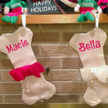 Dog Bone Burlap Pet Christmas Stocking