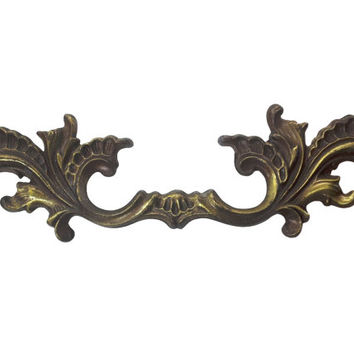 Vintage French Provincial Drawer Pull, Fancy Ornate Furniture Hardware, Aged Patina Finish, Kitchen Cabinet Handles, Dresser Drawer Pulls