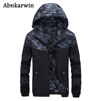 Abnkarwin Casual Men's Black Jackets Thin Mans Windbreaker Hoodie Jacket Patchwork Camouflage Nylon Jackets Plus Size L-5Xl