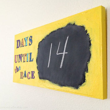 Yellow Running Chalkboard Race Countdown Sign - Days Until The Race Handmade Wooden Wall Decor - Gift Idea for Runners, home decor