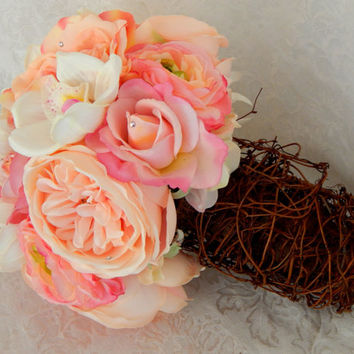 Pink Peony Rose and White Orchid Burlap Garden Rustic Wedding Bouquet- Ready To Ship