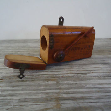 Leave A Note Mailbox Vintage  Miniature Wood Note Holder, San Diego Zoo Souvenir, Desk Accessory