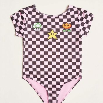 Girls Super Mario Graphic Bodysuit (Kids)