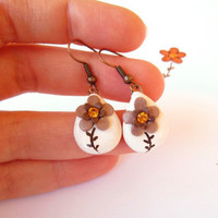 Brown earrings Cappuccino Coffee flower earrings by FlowerLandShop