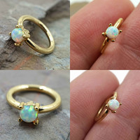 White Opal Gold Tragus Hoop Daith Rook Hoop Cartilage Earring