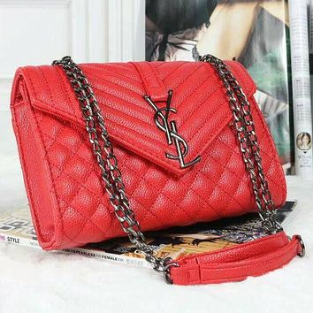 YSL Trending Women Fashion Leather Satchel Shoulder Bag Crossbody Red G