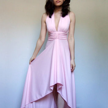 70s Pastel Pink Dress Disco Deep V Long Ruffle Dress Pale Pink Party Dress Hi Low Hem - Extra Small XS