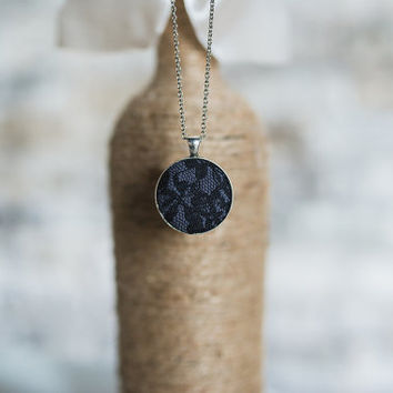 Coal gray pendant necklace silver circle chain black floral lace vintage romantic Bridesmaid fabric gift for her bridal wedding flower girl