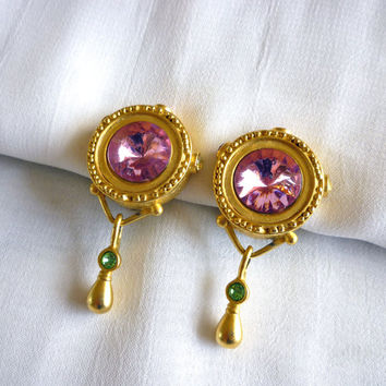 Vintage Pink Rhinestone Earrings, Dangle Earrings, Signed AJC