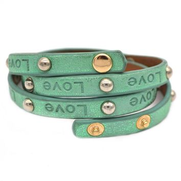 New Fashion Love Stamped Light Green Genuine Leather Multilayer Wrap Bracelets With Rivet For Women/men