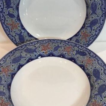 Pier1 Imports Blue Mosaic 5 Large Rim Soup Bowl Fish Starfish Handcrafted Italy