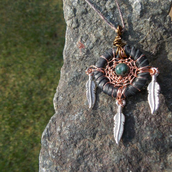 Small Dream Catcher Necklace with Bloodstone Gemstone // Hippie Bohemian Jewelry
