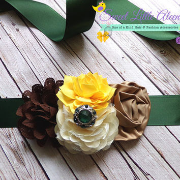 Newborn Baby Boy Prop, Maternity Sash, Flower Girl Sash, Camo Flower Sash, It's A Boy, Toddler Sash Belt  - Camoflauge Green Yellow Brown