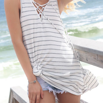 Wave Chaser Heather Gray Striped Tie Up Top