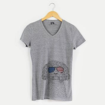 Patriotic Lane the Lhasa Apso - American Flag Aviators - Women's Modern Fit V-neck Shirt