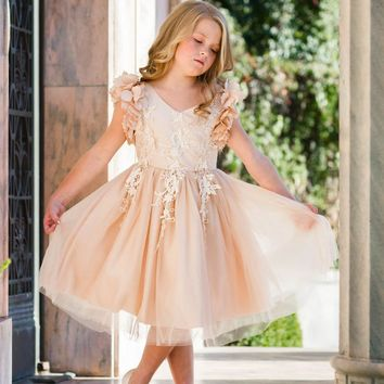 Ariana Champagne Petal Sleeve Satin & Lace Dress