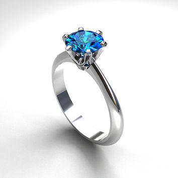 blue topaz engagement ring, swiss blue topaz solitaire ring, unique engagement, topaz ring, white gold, yellow gold, blue engagement