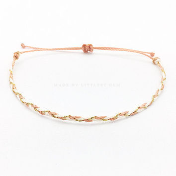 Light Rose Gold Friendship Bracelet - Best Friend Bracelet - Best Friend Gift - Gift for Her - Braided Bracelet - Rose Gold Bracelet