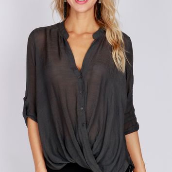 Button Up Cross Blouse Charcoal
