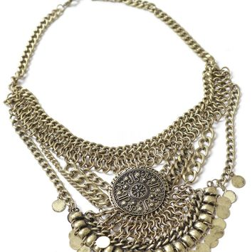 Chain Medallion Necklace Gold