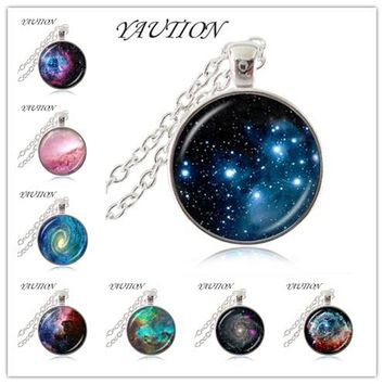 YAUTION Thors Helmet Nebula Necklace Galaxy Astronomy Pendant Solar System Jewelry Space Universe Necklace Milky Way Jewellery