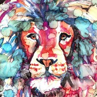 African Lion Watercolor Painting Print, Artist-Signed