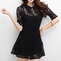 Black Spaghetti Strap Tank Top with Lace Dress