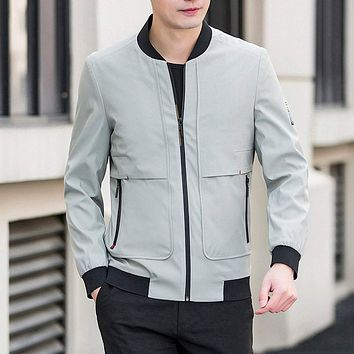 Mens Bomber Jacket with Front Pockets