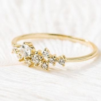 Zircon gold-plated flower ring set diamond simple temperament ring birthday gift