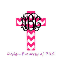 FREE SHIPPING - Chevron Cross Monogram Decal