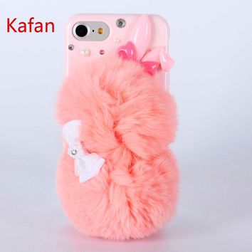 Rabbit Fur Phone Cases for iphone 5s 6s 7 plus With Warm And Comfortable Feeling Phone Cases RHinestone For Galaxy S6 S5 Note3 4