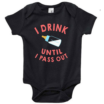 Funny I Drink Until I Pass Out Baby Clothes Infant Bodysuit Jumper Baby Shower Gift idea cute Cool New Mom Christmas Bottle Humor Pregnant