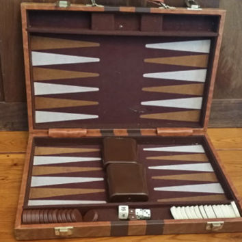 Vintage Travel Backgammon Set Faux Leather Case Great Vintage Game