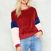 Leave 'Em Wanting Velour Faux Fur Sweater