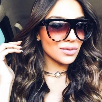 flat top sunglasses women big Brand Sun Glasses vintage Retro TORTOISE SHADOW female eyewear kim kardashian sunglasses lunettes