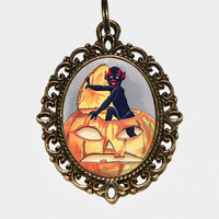 Pumpkin Devil Necklace, Spooky, Halloween Jewelry, Horror, Oval Pendant