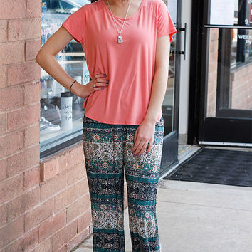 Printed Palazzo Pant - Teal and Navy