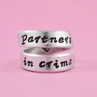 partners in crime - Hand Stamped Spiral Ring,Sisters Ring, Friendship Ring, BFF Ring
