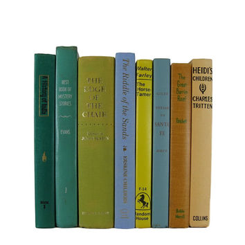 Farmhouse Decor, Rustic Country Decor, Green Blue  Vintage  Books , Vintage Wedding Decor,  old books , vintage book bundles