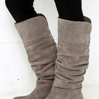 Very Volatile Pirata Grey Suede Leather Knee-High Boots